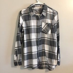 Gray/white plaid button down shirt